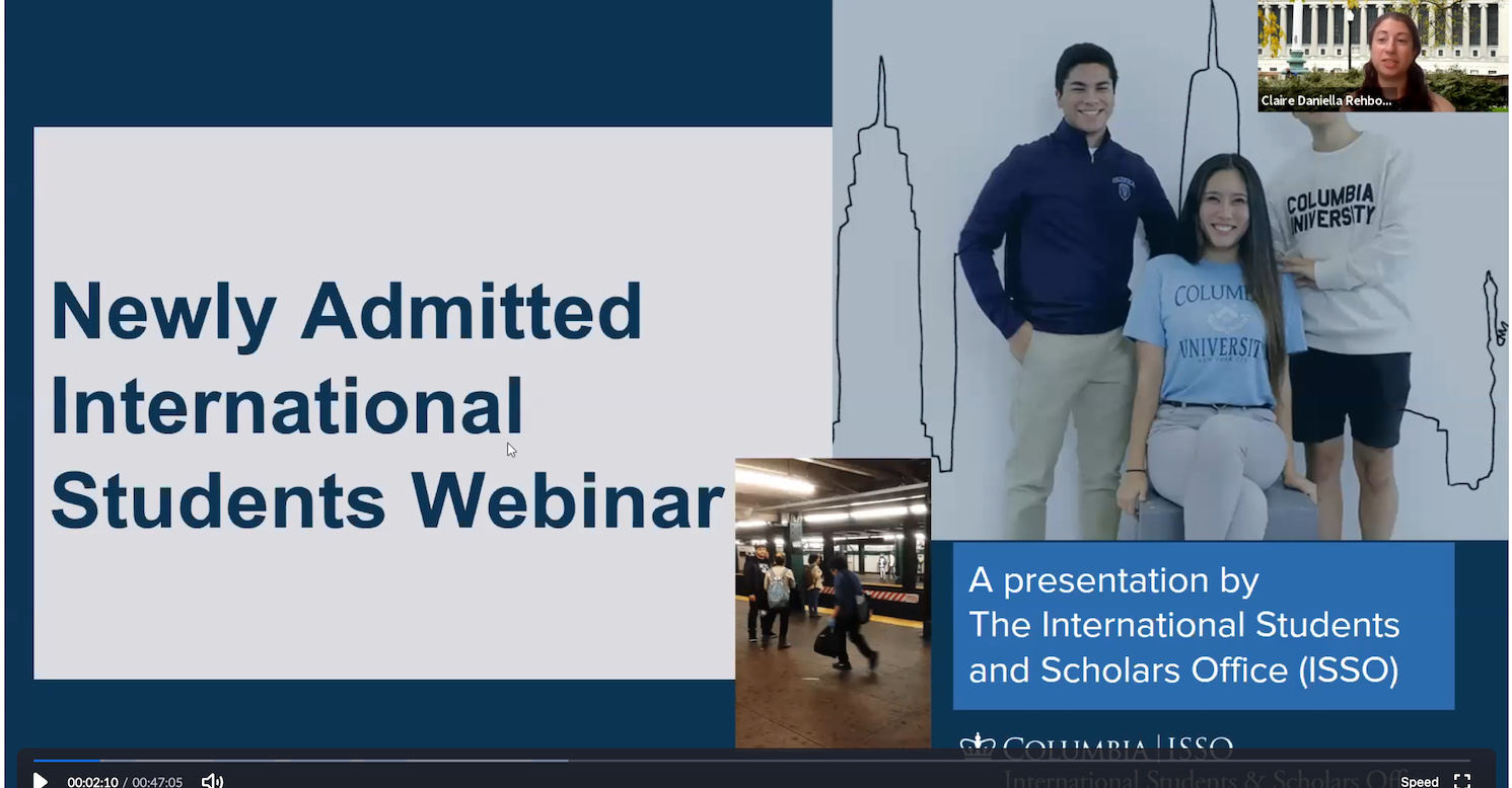 Newly Admitted International Students Webinar (7/16)